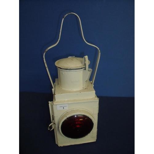 48 - BR(M) white railway lamp with red bullseye lens...