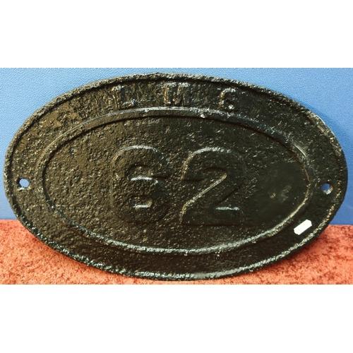 27 - Large cast metal railway oval bridge plate L.M.S 62 (45cm x 28.5cm)...