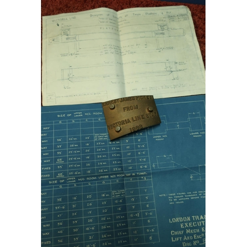 4 - Brass plaque marked Ernest James Pickett from Victoria Line Staff 1966, a blueprint for London Trans...
