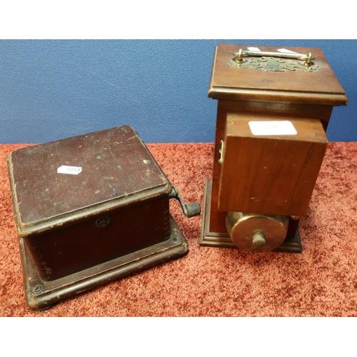 9 - Mahogany cased British manufacture signalling alarm machine and associated winding box (2)...