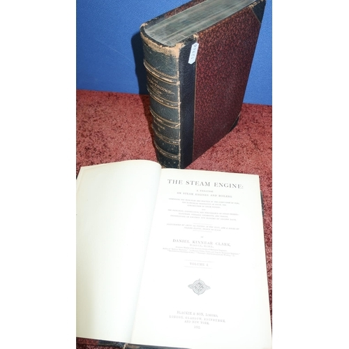 5 - 'The Steam Engine' by D. K. Clark in two half leather bound volumes, 1892...