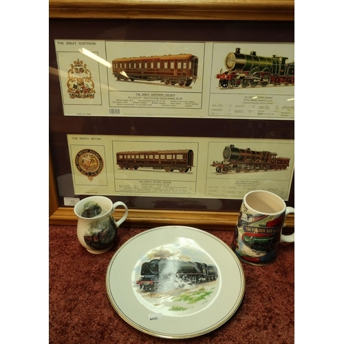 13 - Collection of railway related items including a framed & mounted display for the Great Northern Rail...