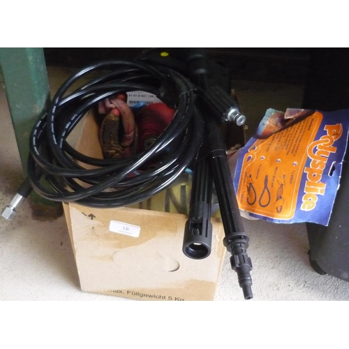 18 - Box containing a brand new lance and hose for power washer, a tow rope, ratchets and straps...
