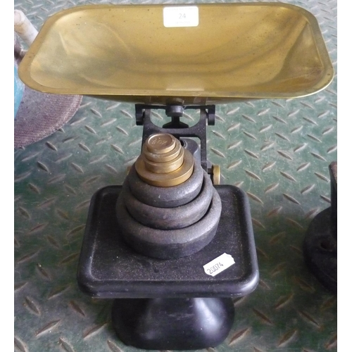 24 - Set of the Queen scales with brass pans and weights...