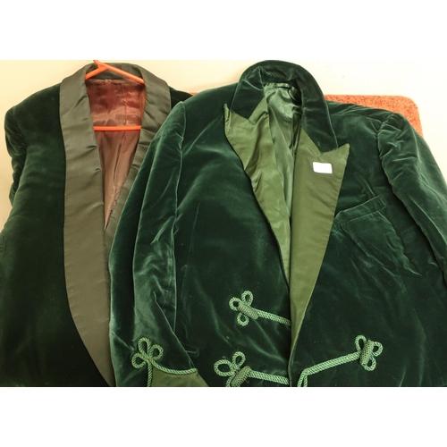 175 - Pair of gentlemans green velvet smoking jackets...