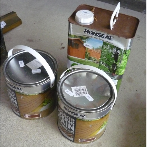14 - Two tins of Ronseal advanced decking stain and a tin of Ronseal Echo fence shed and wood preserver...