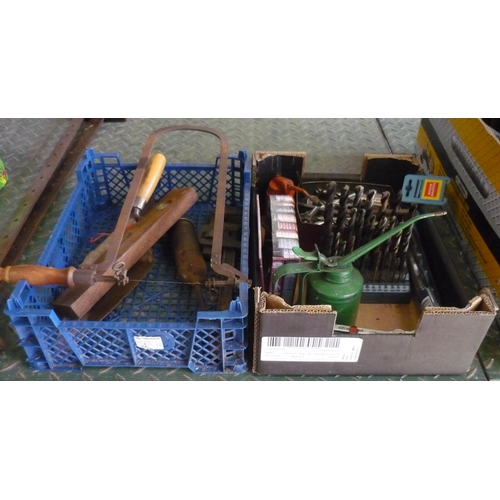 18 - Two boxes containing a quantity of quality drill bits, spanners, vintage oil dispensers etc...