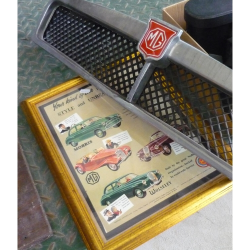 23 - Vintage mg radiator grill and a framed poster of vintage cars including Riley and Morris...