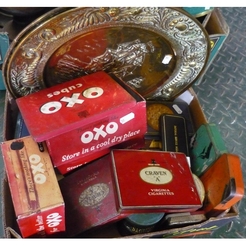 25 - Box containing a large amount of vintage tins, including Oxo Cubes, Craven A cigarettes etc...