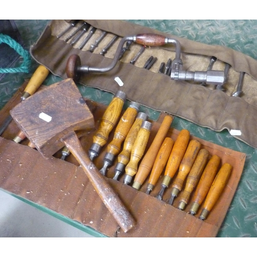 48 - Set of quality woodworking chisels mostly made by G Henderson (16) and a set of quality hand drill a...