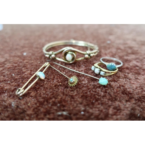 234 - Three stone opal gold ring stamped 375, stock pin set with opal, small stickpin set with turquoise, ...