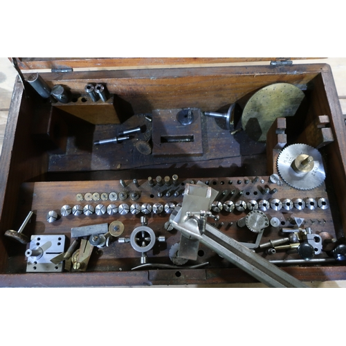 186 - Cased G Boley 8mm Professional watch makers lathe complete with collets and self centring three jaw ...