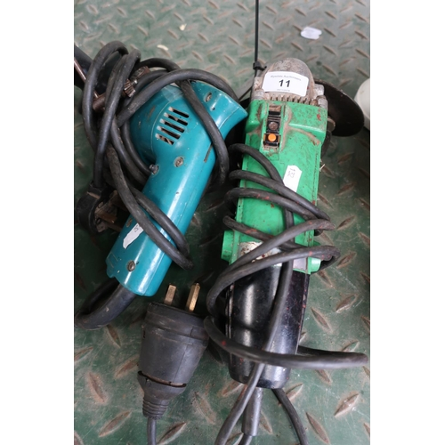 11 - Electric Hitachi grinder and an electric drill...