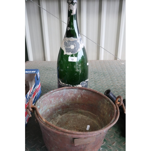12 - Unusual Italian copper cooking pot and a large (empty) Champagne bottle...