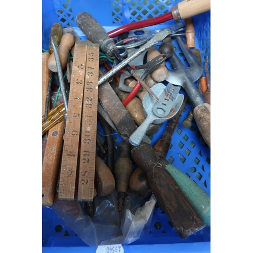 18 - Box containing a quantity of tools including screwdrivers, wooden measures etc...