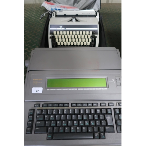 27 - Sharp Personal Word Processor (OL-W20) and a manual Adler typewriter...
