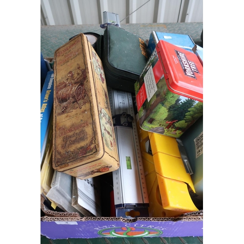 3 - Box containing various items including tins, a set of bowls, Complete Road Atlas etc...