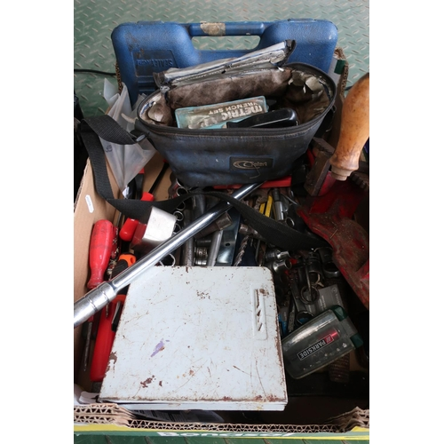 4 - Box containing a large quantity of tools, mainly consisting of socket sets, spanners etc...