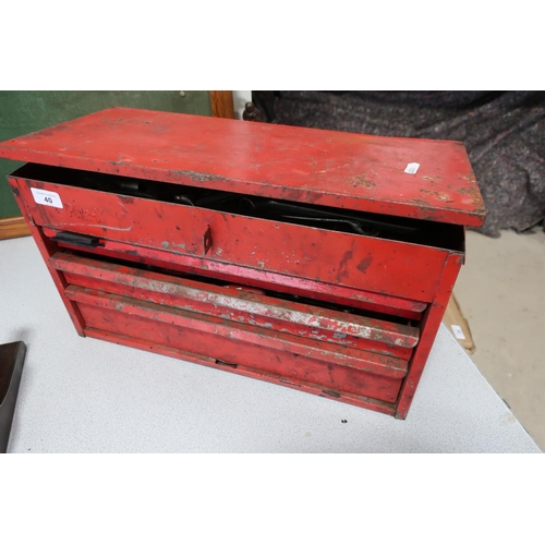 40 - Par-X three drawer tool box with a large quantity of quality tools including sockets, spanners etc...