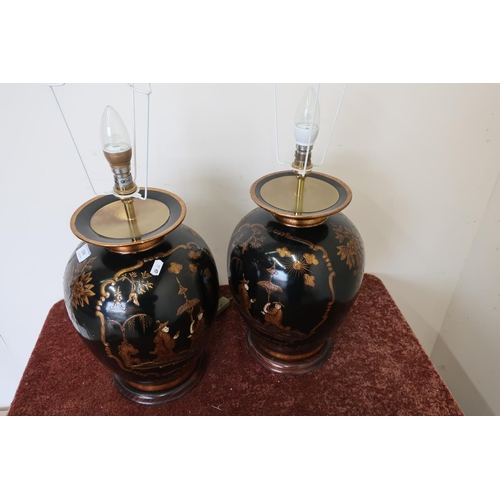 25 - Pair of quality modern chinoiserie Chinese style table lamps (height 55cm) (flexes cut)...