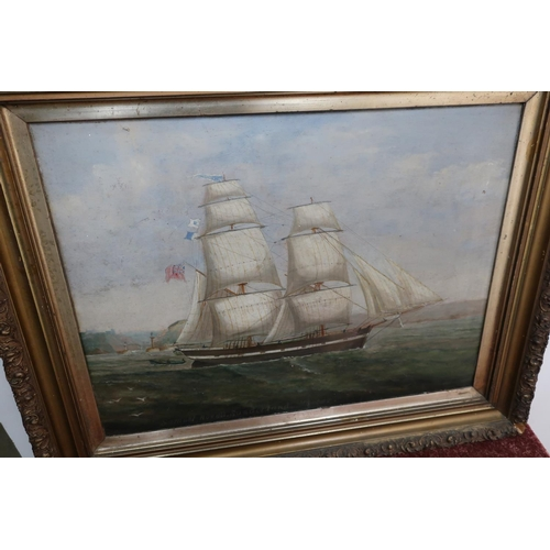 255 - 19th C gilt framed oil on board twin masted ships portrait leaving harbour scene (possibly Whitby ha...