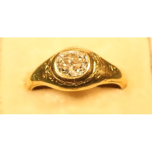 370 - 18ct gold (marks worn) rub over gypsy style single stone diamond ring with old cut diamond (size O 1...