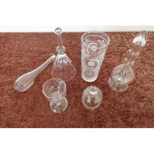 44 - Interesting collection of early 19th C and later glassware, including etched glass beaker, a cupping...