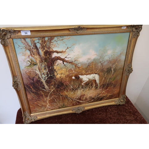 54 - 20th C gilt framed oil on board painting of English Pointer dog in wooded scene by J Fitz (69cm x 54...