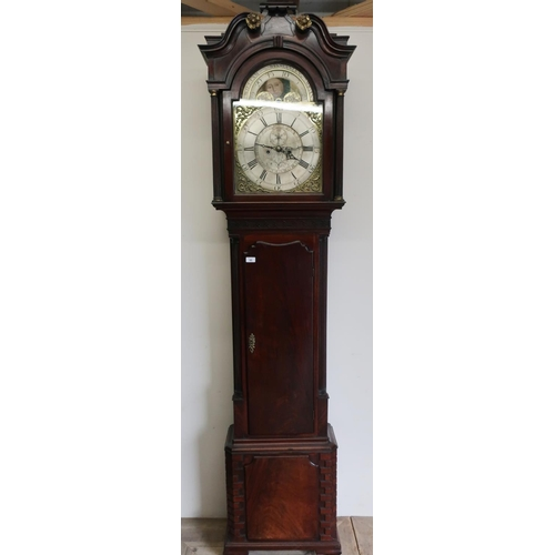 85 - Large mahogany cased 8 day long cased clock with brass moon dial by William Winstanley Wigan...