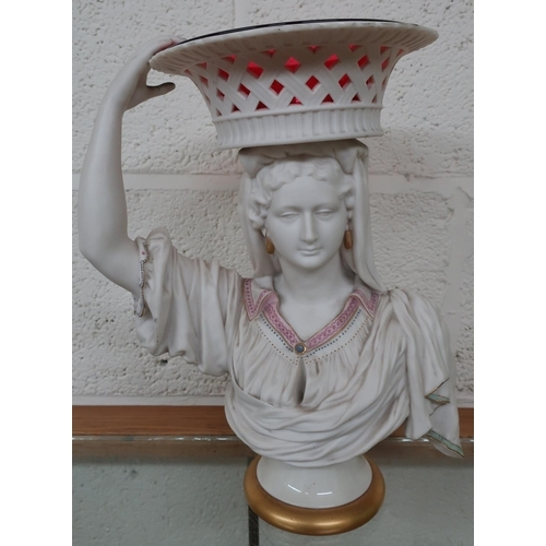 345 - Rare Royal Worcester parian bust comport, coloured enamels, pierced basket cranberry glass liner on ...