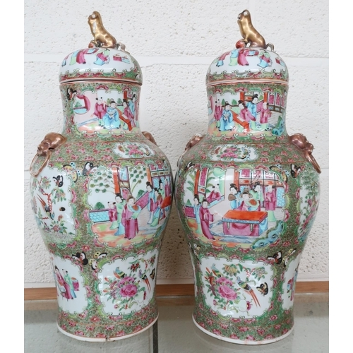 205 - Pair of 19th C Canton Famille Rose vases with lion mask handles and domed lift off covers crested wi...