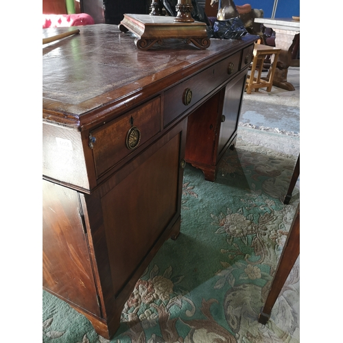 96 - 19th C mahogany partners twin pedestal desk with inset tooled leather top with central drawer flanke...