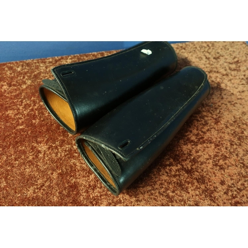 48 - Pair of early 20th C black leather gaiters with fastening straps marked 15 1/2...