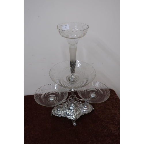 1 - WMF silver plated three branch centre piece glass epergne (height approx 59cm)...