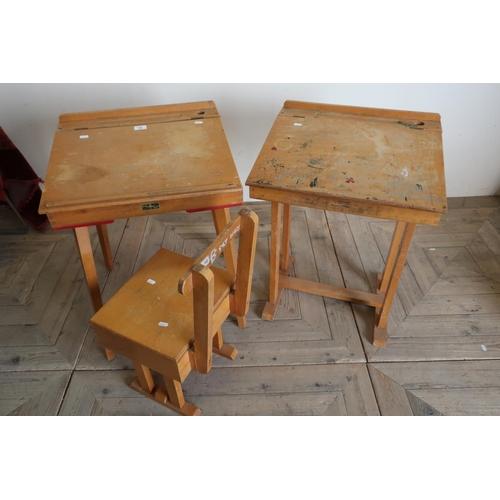 20 - Childs beech desk & chair and another beech childs desk (3)...
