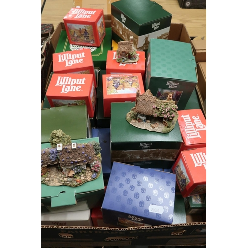 24 - Collection of Lilliput Lane cottages, mostly boxed, in one box...