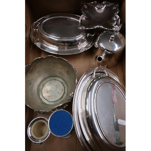 25 - Two silver plated entree dishes and a small selection of other plated ware...