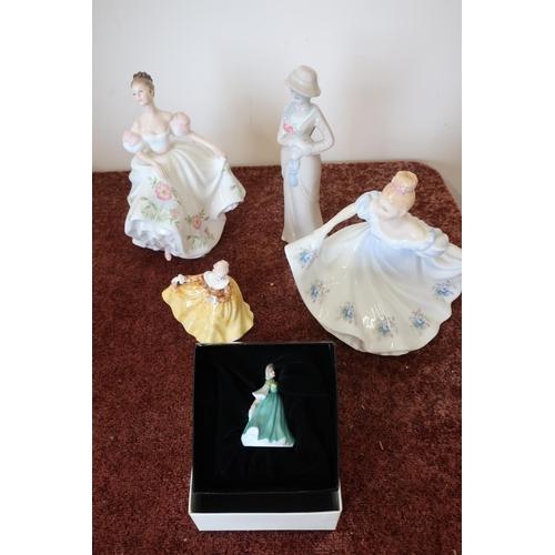 26 - Royal Doulton figures, Kathy No.HN3305, Kirsty No.HN3743, Elaine No. HN3214, and Lucy No.HN3653...