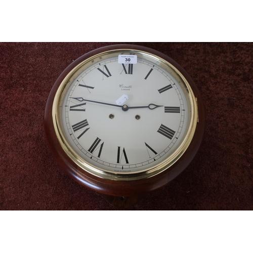 30 - Comitti London mahogany cased striking wall clock...