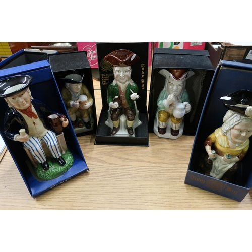 42 - Five Wood & Sons Limited Edition Toby jugs 'Admiral Lord Howe' No. 371/500, 'The Squire' No 15/500, ...