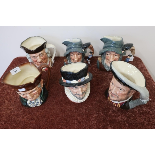 54 - Six Royal Doulton character jugs...