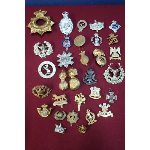 14 - Box containing a quantity of various military cap badges, mostly staybright, for various regiments i...