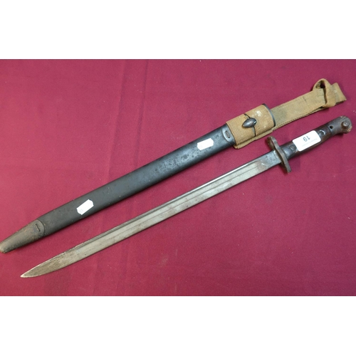 19 - British WWI Enfield bayonet with 17 inch blade marked 1907 Anderson complete with leather sheath and...