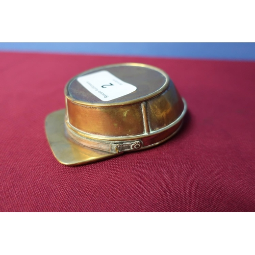 2 - Unusual French made copper snuff box in the form of a military style peaked cap (9cm x 7cm x 3cm)...