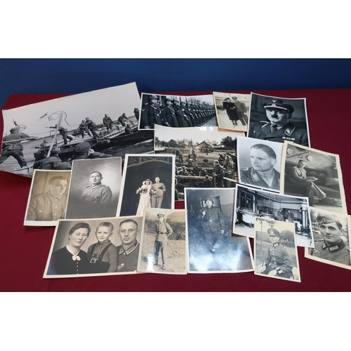 46 - Collection of German military related photographic prints and similar items including German Pioneer...