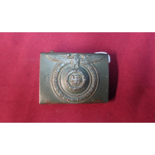 47 - German WWII belt buckle with eagle above Swastika...