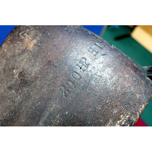 60 - Mounted half wooden propeller blade stamped G1088 200HP HIS (130cm high) (from a WWI SE5 fighter pla...