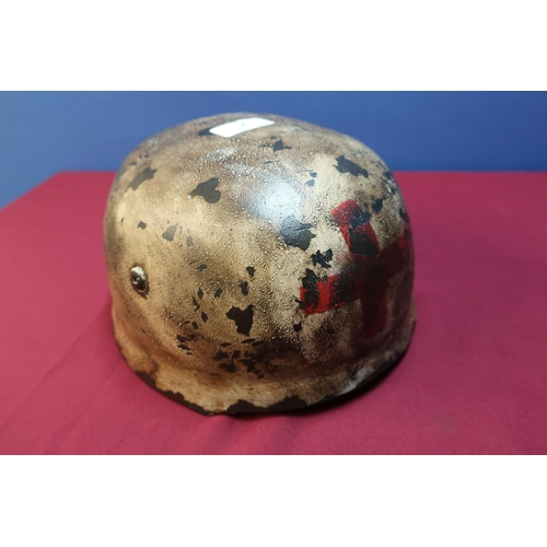 7 - German Paramedics steel helmet, the inside with painted detail K.Steiner, with modern liner and chin...