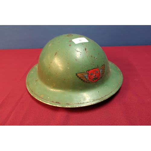 8 - Circa WWII British steel helmet with liner and webbing chin strap with painted Decel...