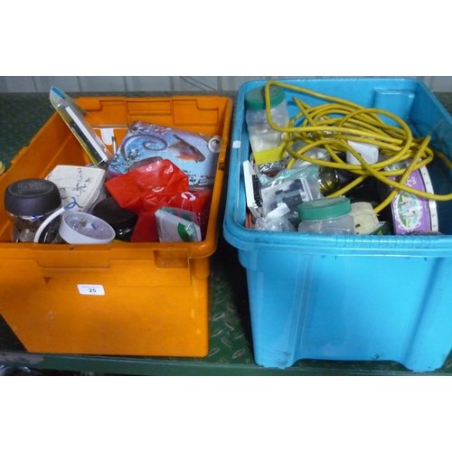 25 - Two boxes containing a large quantity of jars with screws, spools, electrical switches etc...